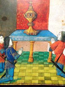Anbetung des Gral (Bildhandschrift, Nationalbibliothek Paris)