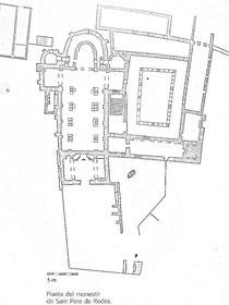 Plan des Klosters (nach: Guies Catalunya Romanica Comarcals, , L´Alt Emporda, Portic, Barcelona 2000, S. 124)