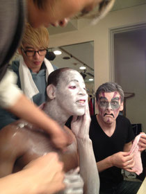 Wendell and Brian removing their makeup after the last show
