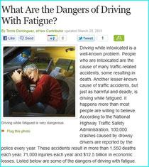 居眠運転の危険を訴える欧米のWEBサイト