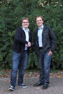 SJR-Vorsitzender Achim Biesenbach begrüßt Oliver Rosenau stellvertretend für den Rotaract Club Buxtehude
