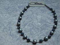 Collier Blue Zirkon (Swarovski-Steine und Süßwasserperle) (9237)