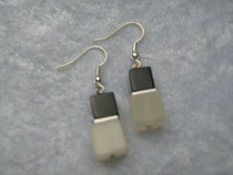 Ohrring schwarz-weiß (7989)