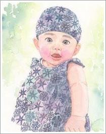 水彩 子供の似顔絵