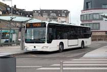 Le Citaro, sur l'une de ses premières missions, au départ quai E de la Gare.
