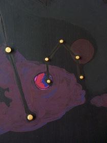Ellen Roß: Parallele Welten n°2, Detail,  2012, 3 Platten a ca.50x160cm, Acryl, Tusche, Draht und Holz auf MDF, Lange Nacht der Museen Koblenz