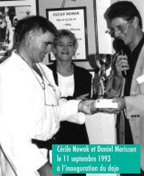 Cécile Nowak et Daniel Morisson le 11 septembre 1993 à l'inauguration du dojo