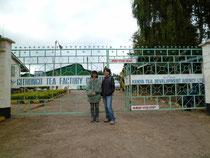 ギドンゴ紅茶工場の前にて