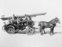 Druckspritze mit Pferdegespann
