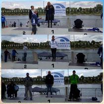 Vero, Sascha und Angelika Siegreich beim Freiwasserwettkampf am Fühlingersee.