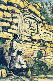 Zeichnung der großen Stuck Maske von Izamal, Yucatan, Mexiko