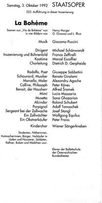 【↑↑ クリックで拡大】1992年10月3日のウィーン国立歌劇場の配役表:ドイツ語圏の歌劇場の多くは、プログラム冊子に当日の配役表を挟み込んで販売する(この紙だけ毎回差し替える)。ここでは、2行目に「この演出における223回目の公演」と明記されている。