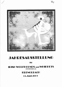 Logo Whippet Wolfshund Ausstellung Krenglbach mit whippet billy the kid moskitos