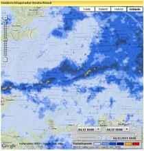 Aktuell ostwärts über die Pfalz ziehende Regenfront (www.wetter.com)