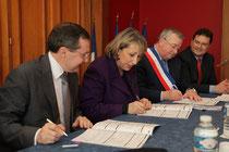 Philippe Bas, Marie-Anne Montchamp, secrétaire d'Etat, François Digard, maire-conseiller régional de St Lô, Philippe Gosselin, député