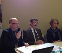 Bernard anquetil préside l'AG des MFR de la Manche avec au micro M. Marge, Directeur général de la fédération manchoise