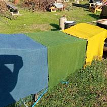 Schurwollstoff mit Reseda und Indigo gefärbt