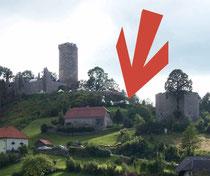 Waxenberg direkt oberhalb des ersten Turmes - am 12./13. Jhdt. Plateau