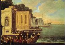 船出する人物のいる港の風景