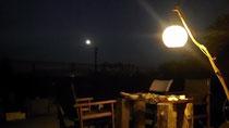 裏庭に浮かぶ月