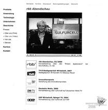 """Homepage """"Presse - Über uns (Video)"""" der Firma Soltecture (ehemals Sulfurcell) bis zum 17.1.2011"""