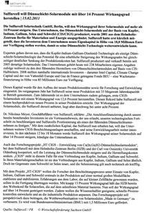 Wirtschaftsförderung Sachsen, Sulfurcell will Dünnschicht-Solarmodule mit über 14 Prozent Wirkungsgrad herstellen, 15.2.2011
