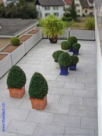Fitze Dach AG der Dachdecker deckt auch Flachdächer und Balkone ein. Foto: Balkon, grosse Terrasse