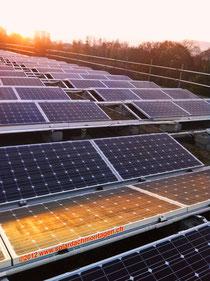 Fitze Dach AG der Dachdecker  montiert Solaranlagen auf dem Dach. Hier eine Grossanlage in Basel.