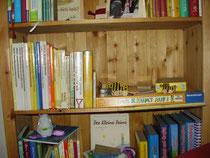 Bücherregalfach mit Teilen meiner kleinen etwa 250 Exemplare umfassenden Kinderbuchsammlung.     Sollte jemand, der hier liest, sich von alten Kinderbüchern trennen wollen, ich wäre ein dankbarer Ab