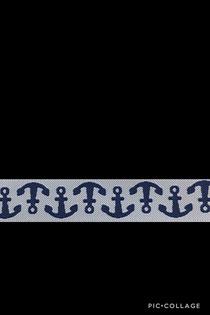 Band 33 -  Anker blau/weiß 15mm Design Lila-Lotta Design