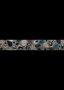 Band 14 -  Leaves grau 15mm Design: Lila-Lota Design