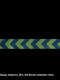 Band 5 -  Chevron-Webband petrol-grün 12mm Design: Farbenmix