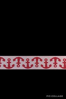 Band 31 - Anker rot/weiß 15mm Design Lila-Lotta Design