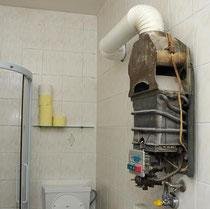 Defekte Therme, welche vermutlich die Ursache für den Kohlenmonoxidznfall war. Foto: FF Krems/G.Rohrhofer.