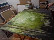 Acrylfarbe verläuft mit Wasser, Thomas Guggemos