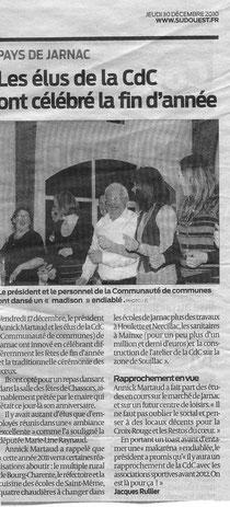 Article Sud Ouest du 30/12/2010