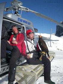 Paul Klima (li), Helmut Achatz und Steinadler Sky