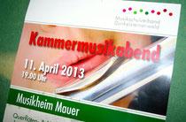 Kammermusikabend der Musikschulverbandes Dunkelsteinerwald im Musikheim der MK Mauer bei Melk