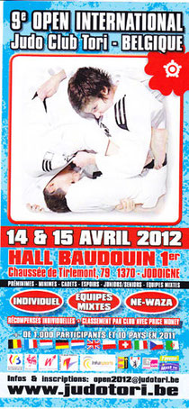 Plakat des 9ten Open International des Judo Club Tori Belgien und Link zum Club