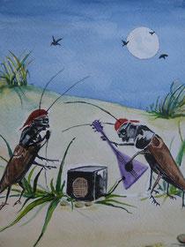 """Illustration zu dem Kindergedicht von Christine Graf, """"Der kleine Frosch und sein Abenteuer"""""""