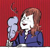 Retrato de la escritora realizado por el ilustrador Alejandro Antoraz