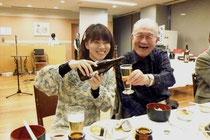 福島ハーモニカアンサンブルの皆さんが前日にお食事会を開いてくださいました。写真は、福島ハーモニカ協会会長の木村先生です。