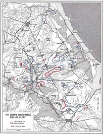 VII Corps Brückenkopf am Ende des D-Day