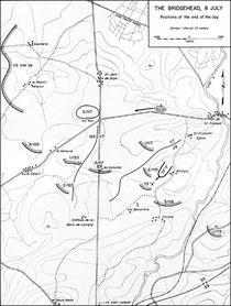8. Juli Abends - Positionen der Einheiten der 30th ID bzw. CCB