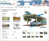 Carport mit Gründach mit Preis sofort konfigurieren