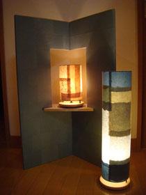 竹紙 間接照明と創作屏風