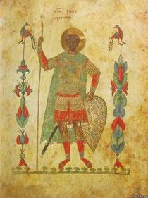 Феодор Стратилат (миниатюра Феодоровского Евангелия, 1327 год)