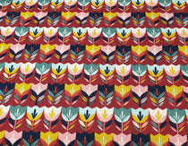 Tulpen auf dunkelrot, 100%  Baumwolle Öko-Tex-Standard