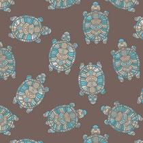 French-Terry-Sweat Ethno Schildkröte braun