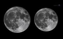 左 スーパームーン 右 通常の月